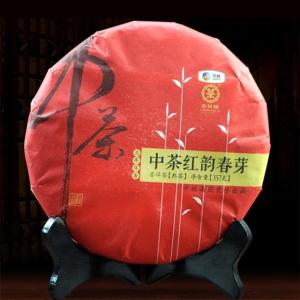 中茶2016年云南普洱茶熟茶饼 红韵春芽熟普茶七子饼圆茶357g茶叶