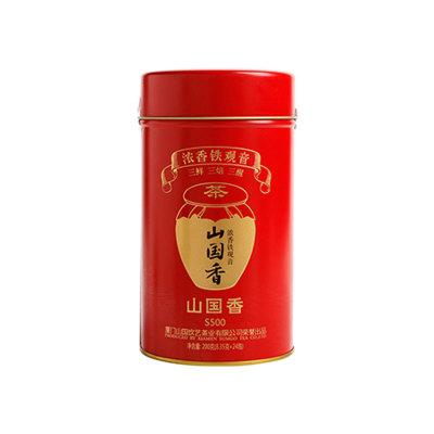 山国饮艺乌龙茶茶叶浓香铁观音山国香S500罐装200g配礼袋